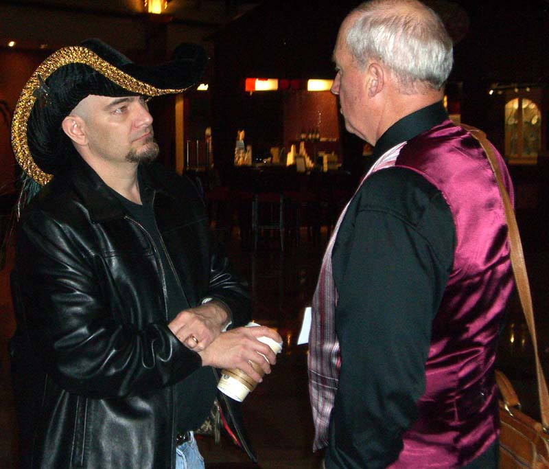 Lou Anders (left) and L. E. Modesitt at the World Fantasy Convention 2006