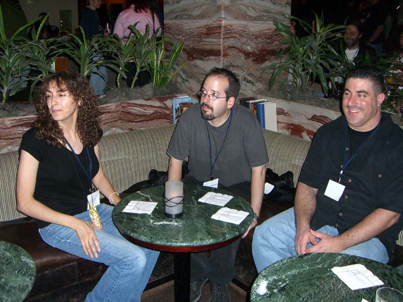 Three people at the hotel bar at the World Fantasy Convention 2006