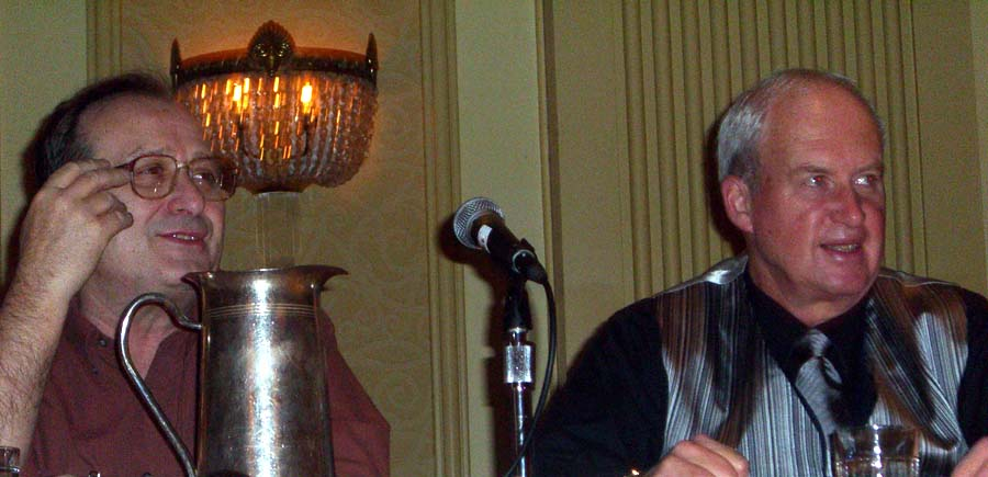 Eric Flint and L. E. Modesitt at the World Fantasy Convention 2006 panel on cliches in fantasy