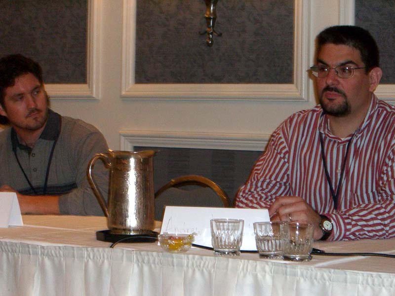 MC and AW on the Fantasy, Blogosphere and Social Networking panel at the World Fantasy Convention 2006