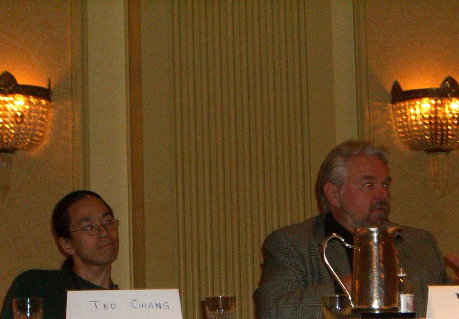 Left to right: Ted Chiang and Walter Jon Williams at The God or The Machine panel at the World Fantasy Convention 2006