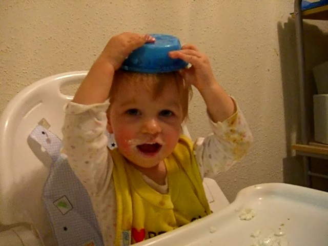 Cottage cheese bowl as a hat