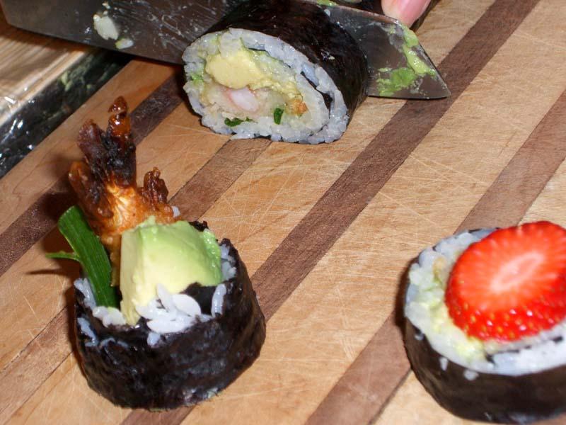 Avocado/crab sushi, strawberry sushi