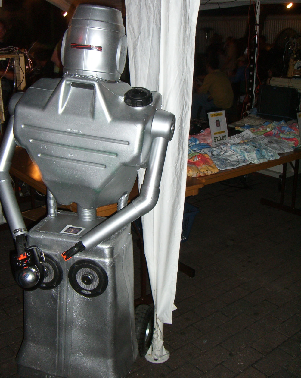 A silver-colored robot at SXSW 2007 steampunk party