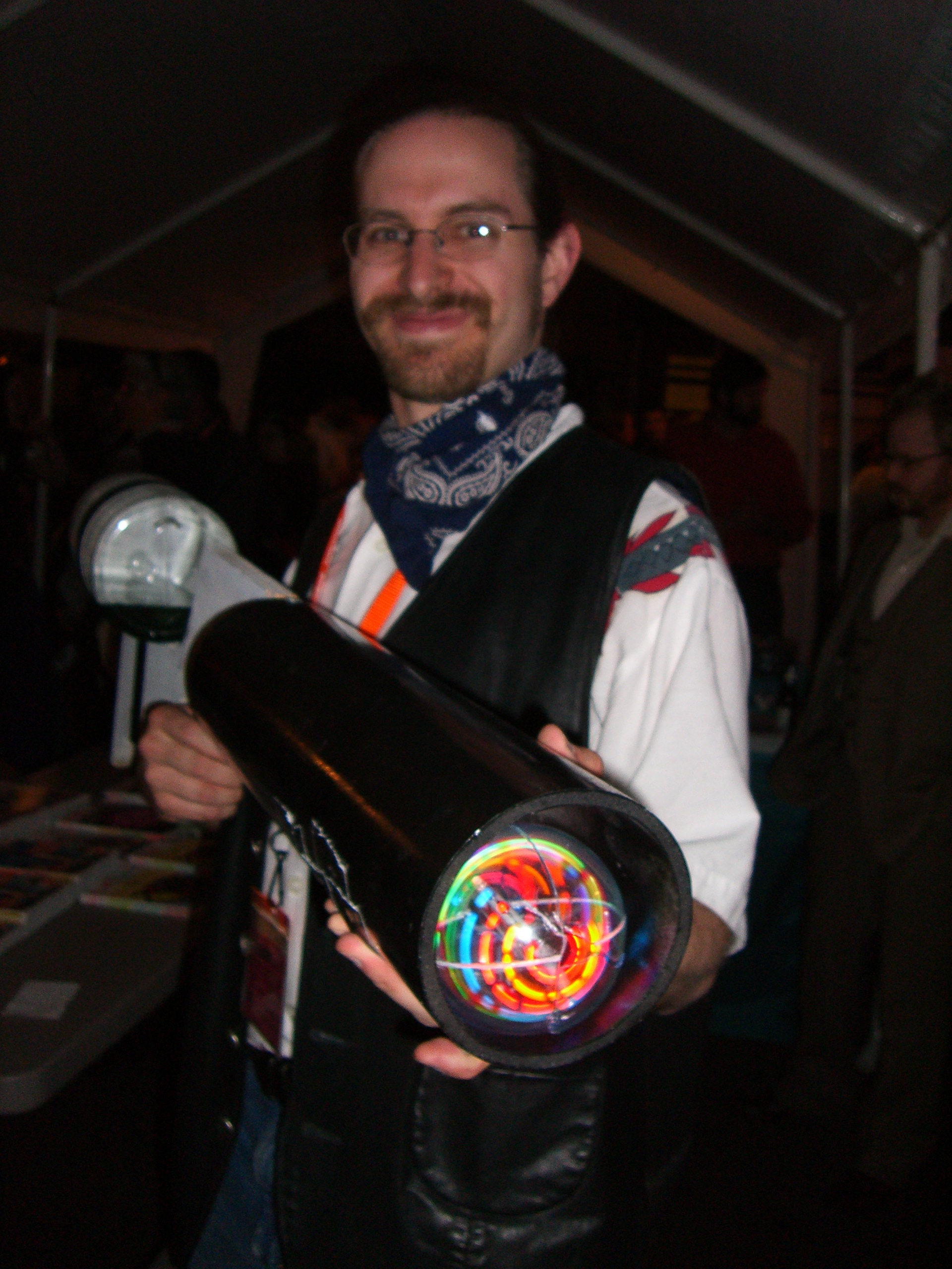 A guy with a kaleidoscope at the Futures Past steampunk party at SXSW 2007