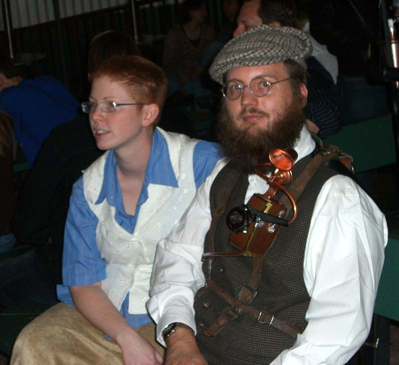 A gadget attached to a vest, seen at the steampunk party at SXSW 2007