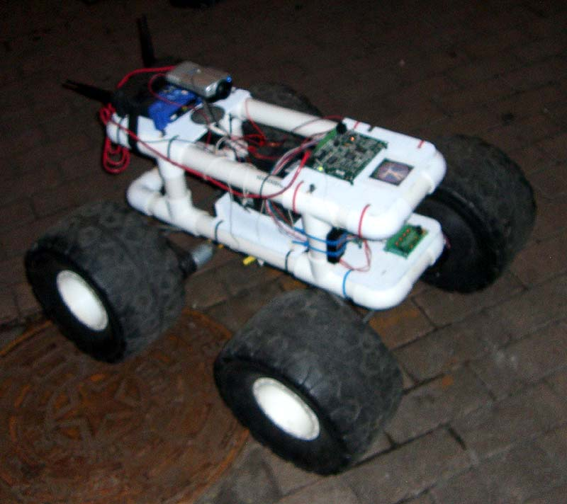 A robot car at the steampunk party at SXSW 2007