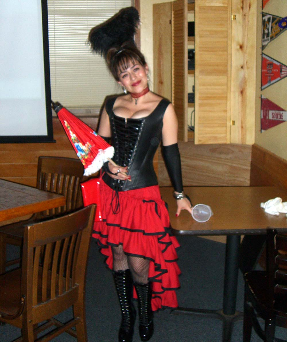 Red and black, ruffles and an umbrella; steampunk party at SXSW 2007