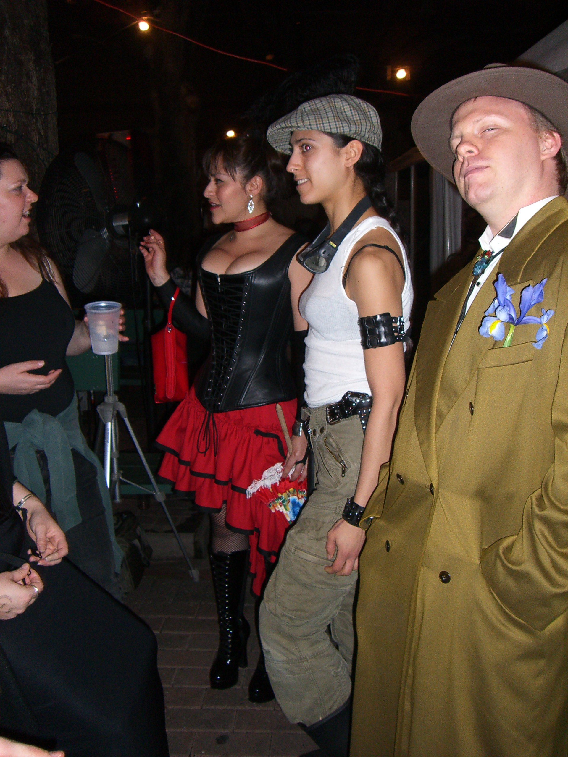 Three partygoers at the SXSW 2007 steampunk party