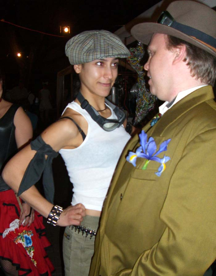 Two partygoers at the SXSW 2007 steampunk party