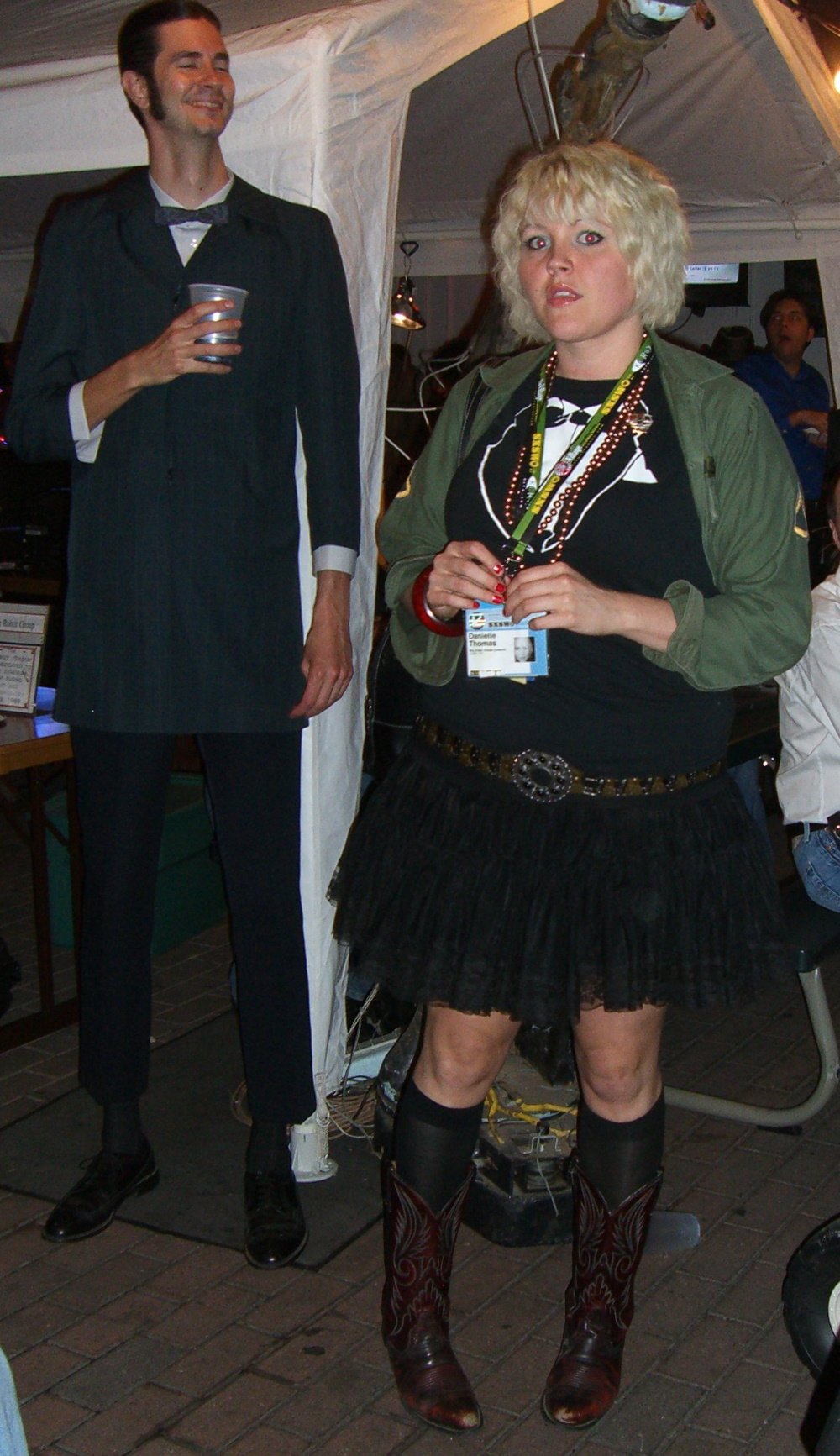 A tall guy in a deliberately ill-fitting suit at the SXSW 2007 Steampunk party