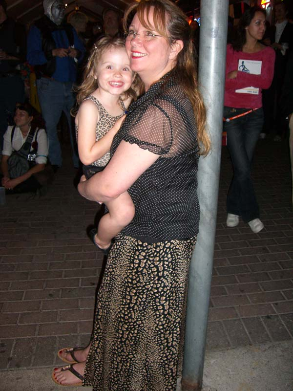 Two generations in matching animal prints at the steampunk party at SXSW 2007