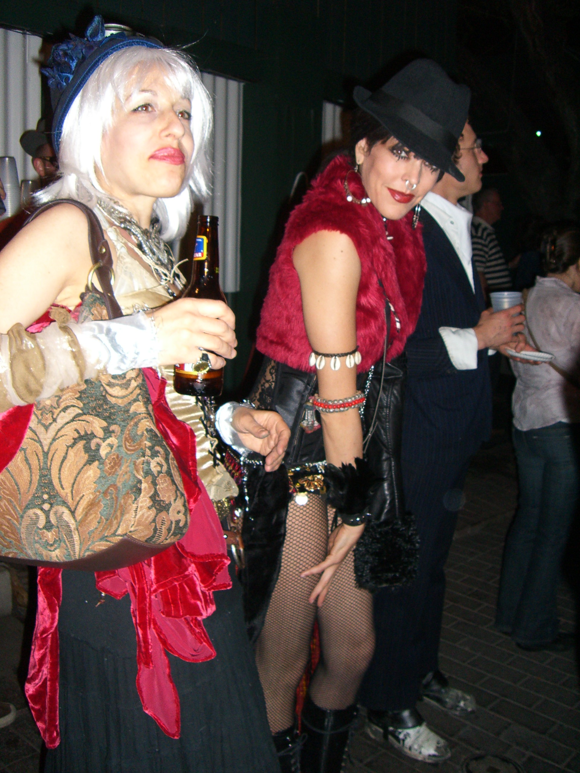 Red-and-black, a bellydancer sash with sequins - Steampunk party at SXSW 2007