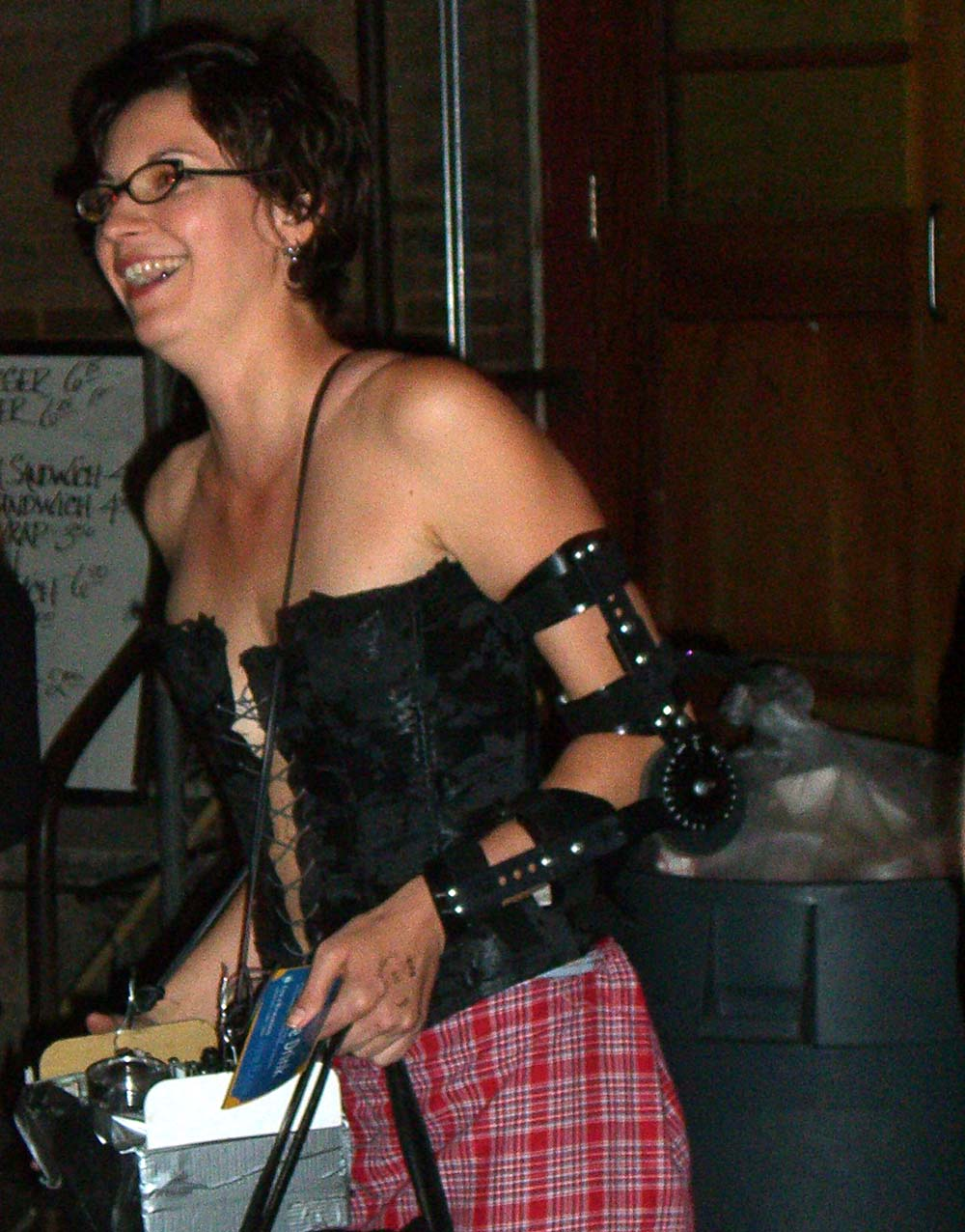 Stylish arm brace at the Steampunk party at SXSW 2007, evoking a robot arm
