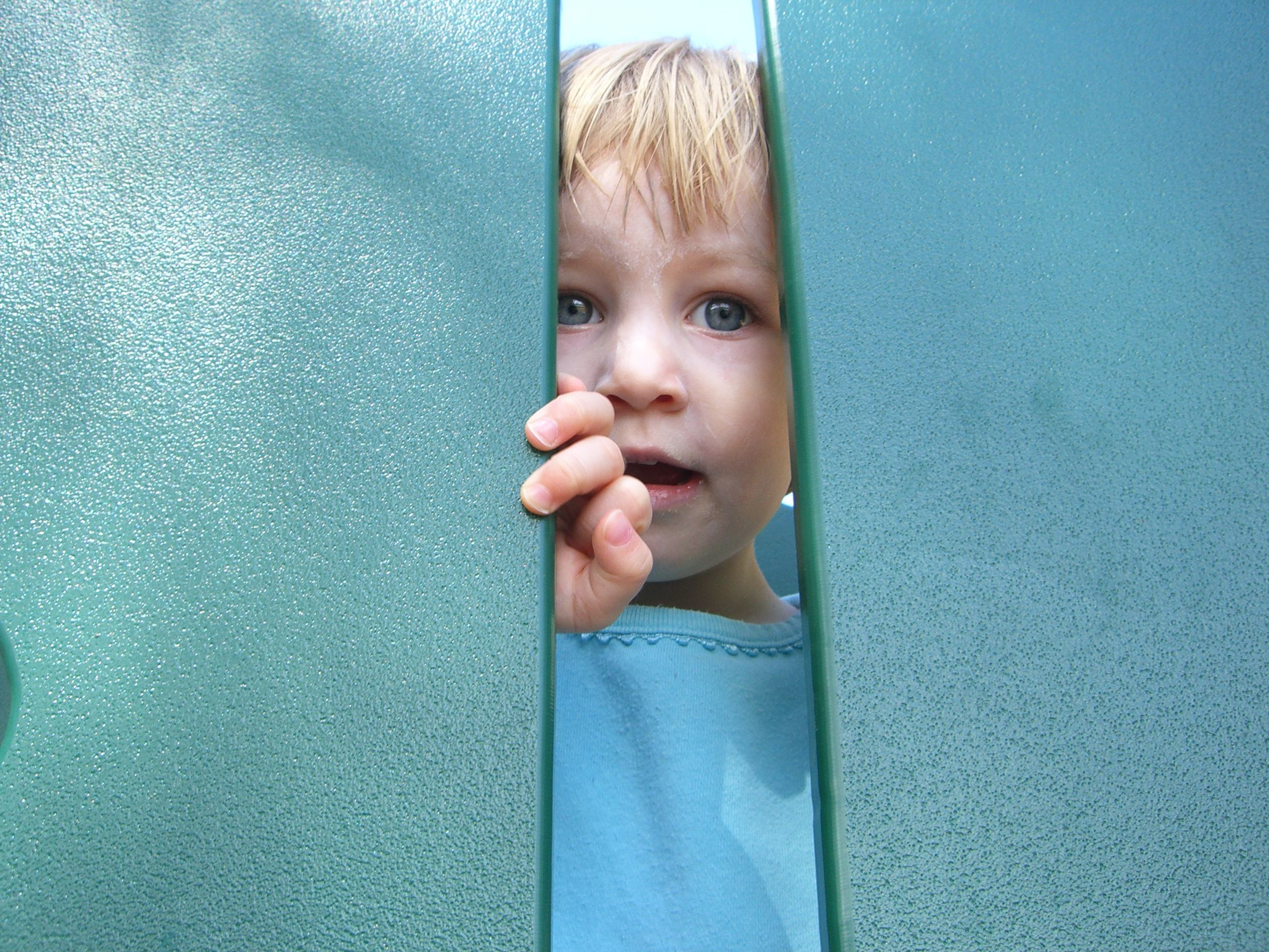 Peeking out through a gap in the playground equipment, March 2007