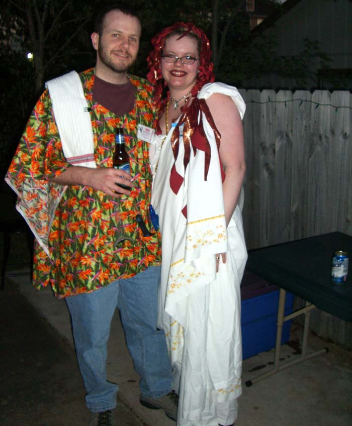 Medusa (right) and a God Of Hairdos (left) at the second annual Ye Gods party