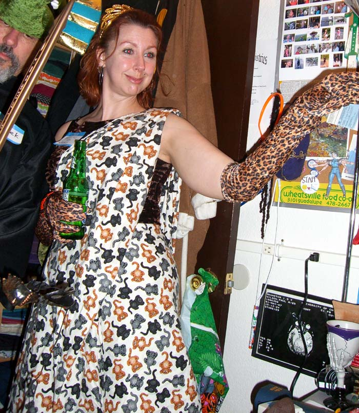 A costume consisting of animal prints, seen at the second annual Ye Gods party