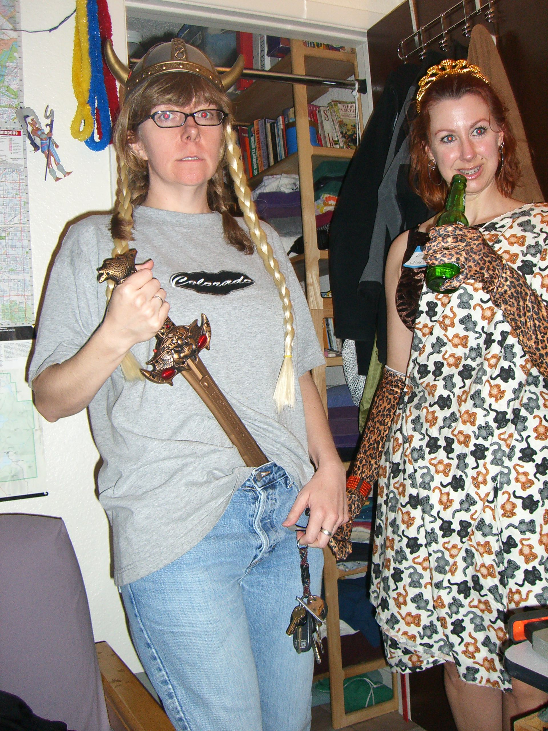 A in a viking helmet with braids and J in animal prints