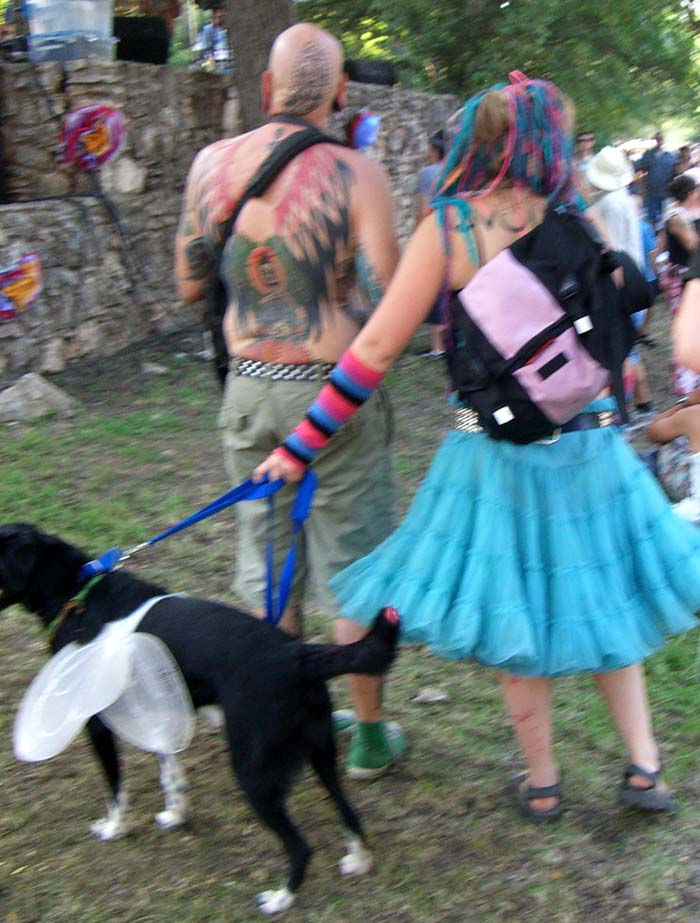Colorful braids, a dog with fairy wings at Eeyore's Birthday 2007