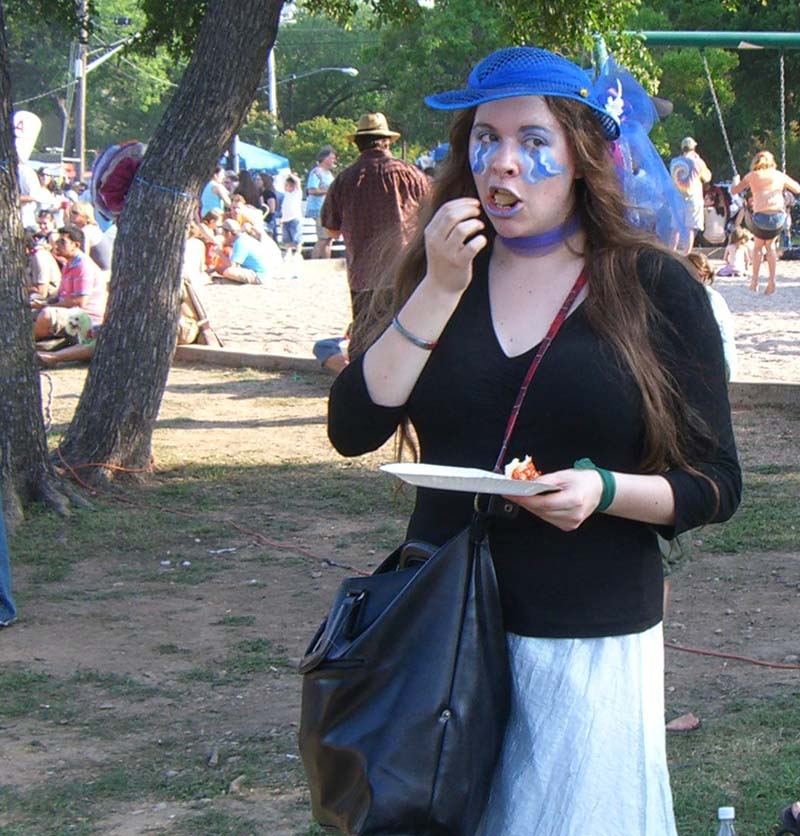 Blue hat, blue face paint at Eeyore's Birthday 2007