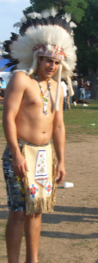 The soccer player in a Native American costume