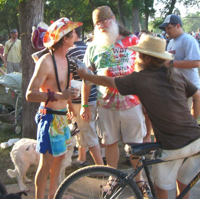 Old skool hippie in a War Is Not Healthy t-shirt