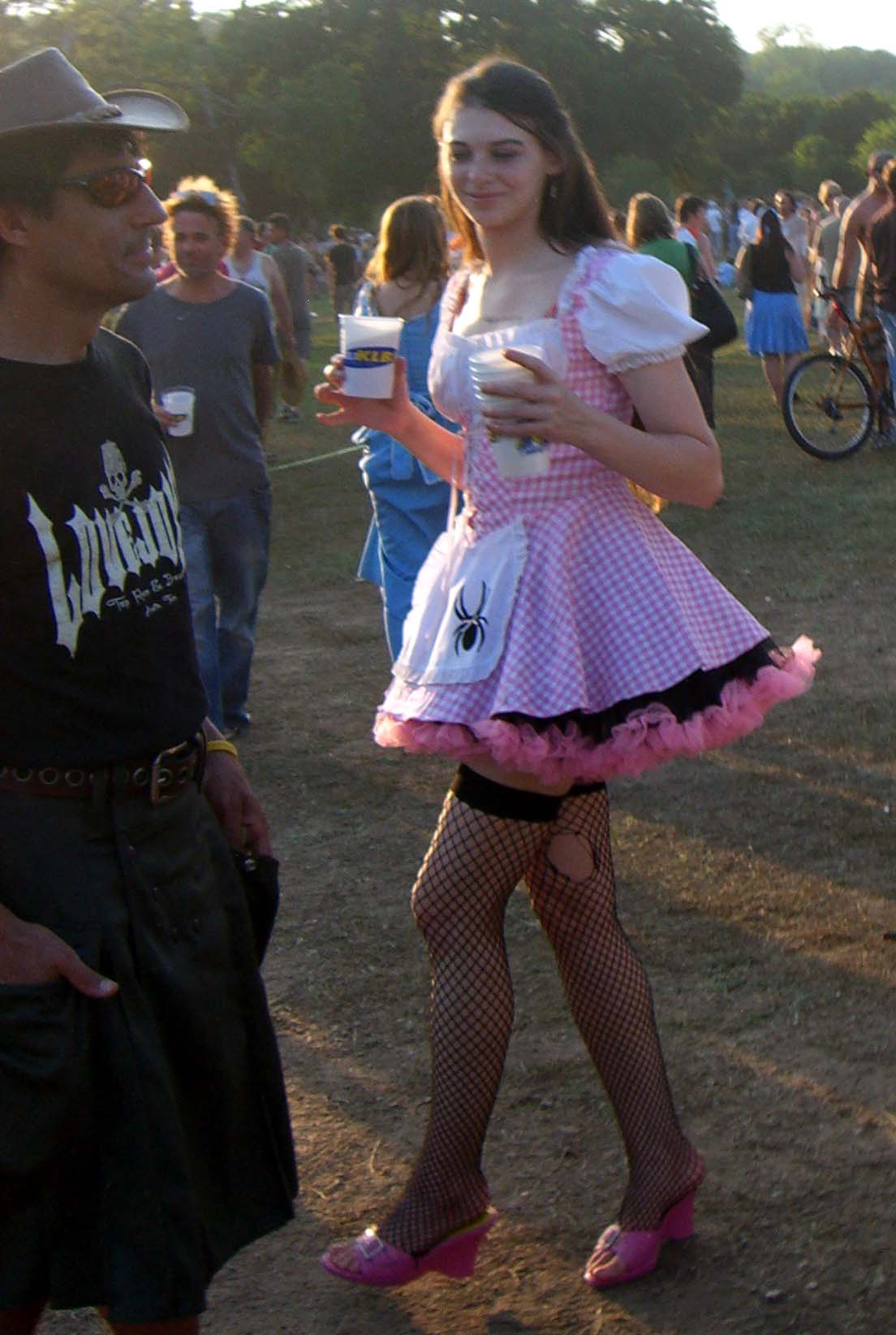 Pink and white gingham and ruffle dress, Eeyore's Birthday 2007