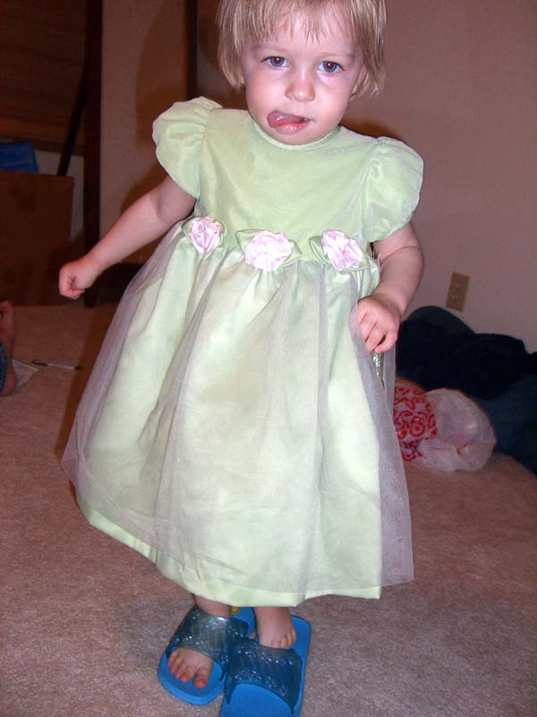 Green dress with shower slippers, April 2007