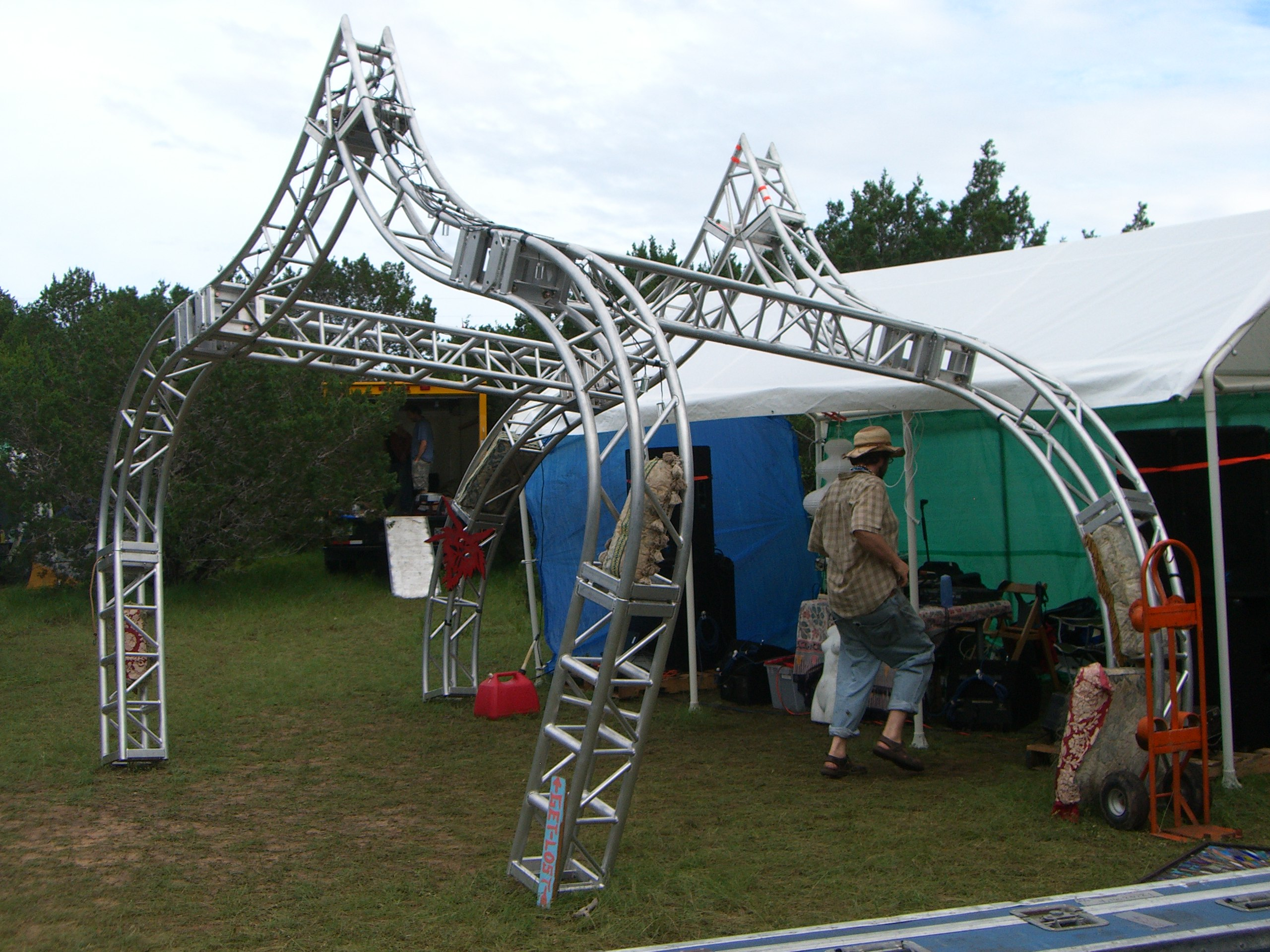 An onion dome-like structure at Get Lost camp at Burning Flipside 2007