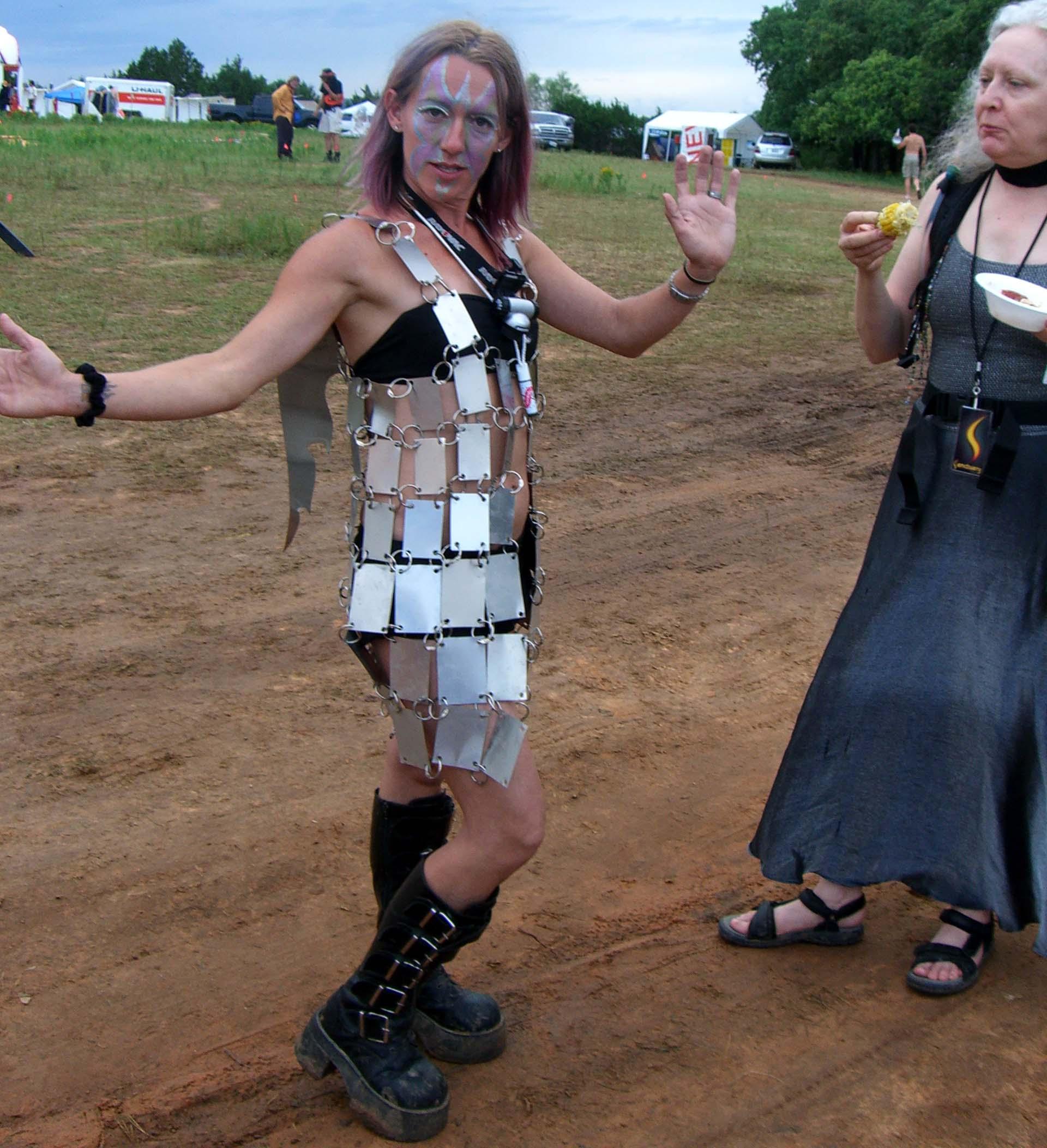 Costume of metal squares at Burning Flipside 2007