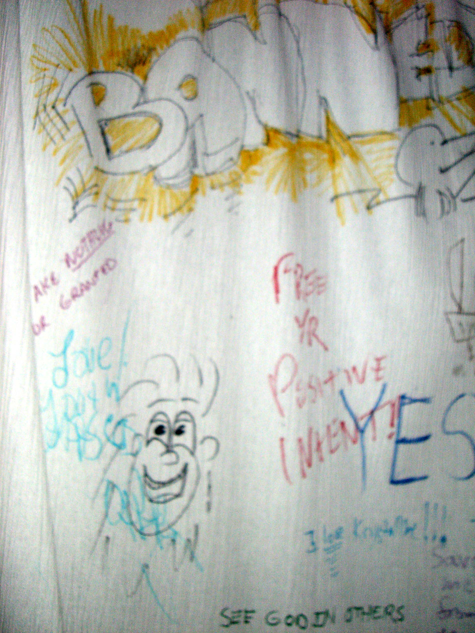 The sheets inside the booth where people could write whatever they wanted