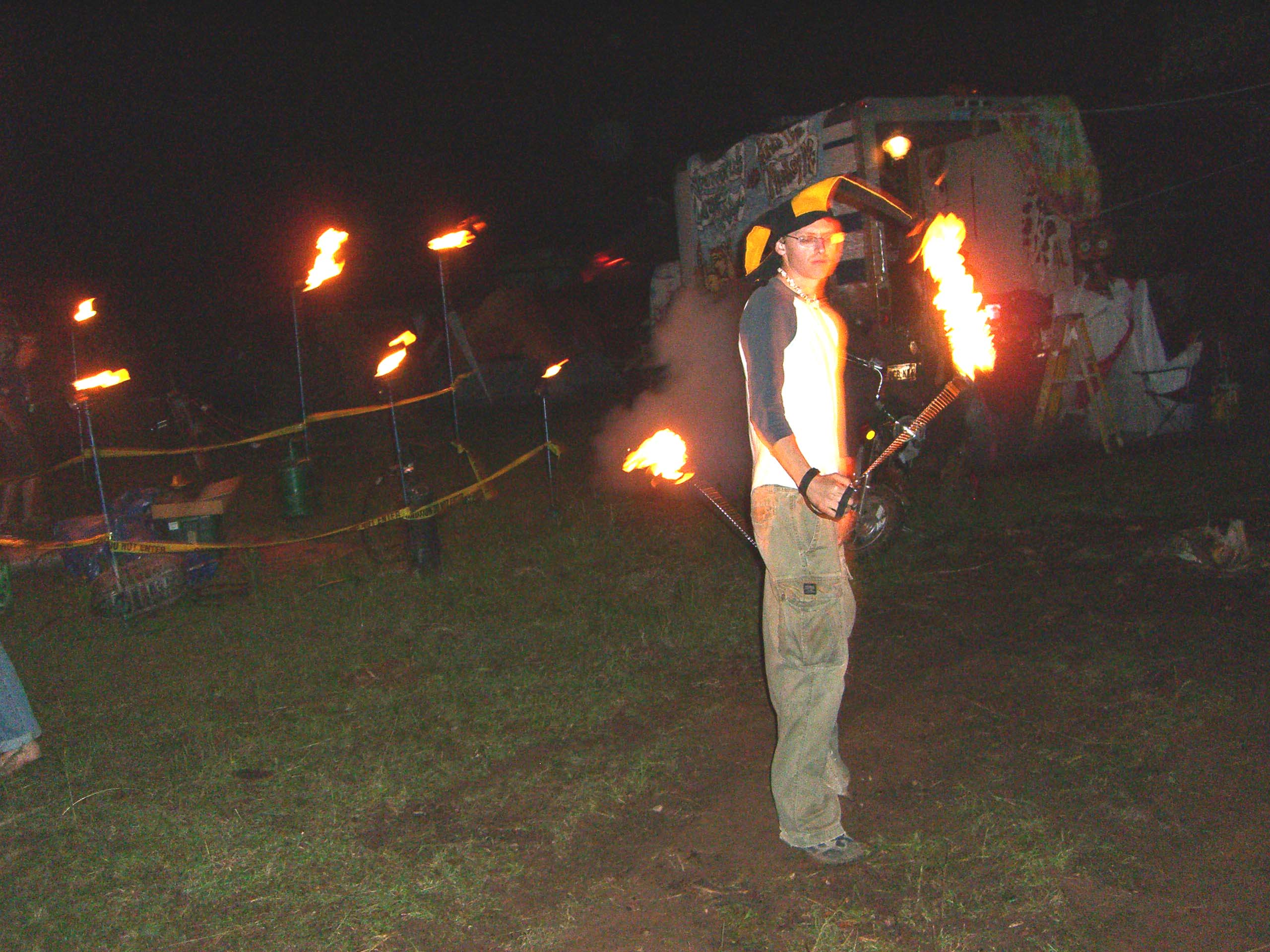 Fire spinners perform at Burning Flipside 2007